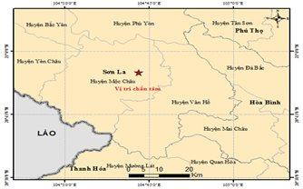Động đất có độ lớn 3.6 tại Mộc Châu