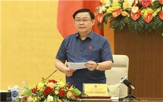 Chủ tịch Quốc hội Vương Đình Huệ chủ trì buổi làm việc về chính sách tài khoản và tiền tệ