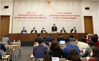 Kỳ họp thứ 2, Quốc hội khóa XV sẽ khai mạc vào sáng 20/10