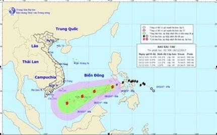 Bão Kai-tak đang tiến vào Biển Đông và mạnh thêm