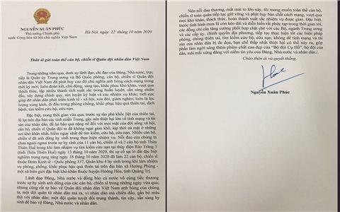 Thủ tướng Nguyễn Xuân Phúc gửi thư tới cán bộ, chiến sĩ Quân đội nhân dân Việt Nam