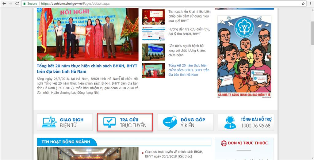 Người lao động tích chọn 'Tra cứu trực tuyến' tại Cổng thông tin điện tử BHXH Việt Nam.