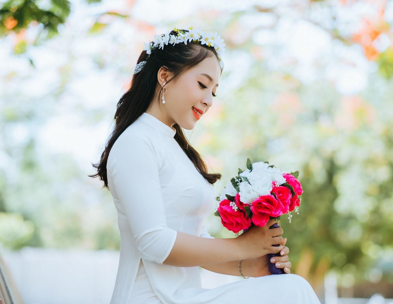 Mai Thị Quỳnh Trang trong ngày tốt nghiệp THPT