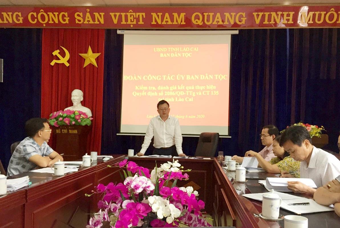 Đoàn công tác của UBDT làm việc với Ban Dân tộc tỉnh Lào Cai