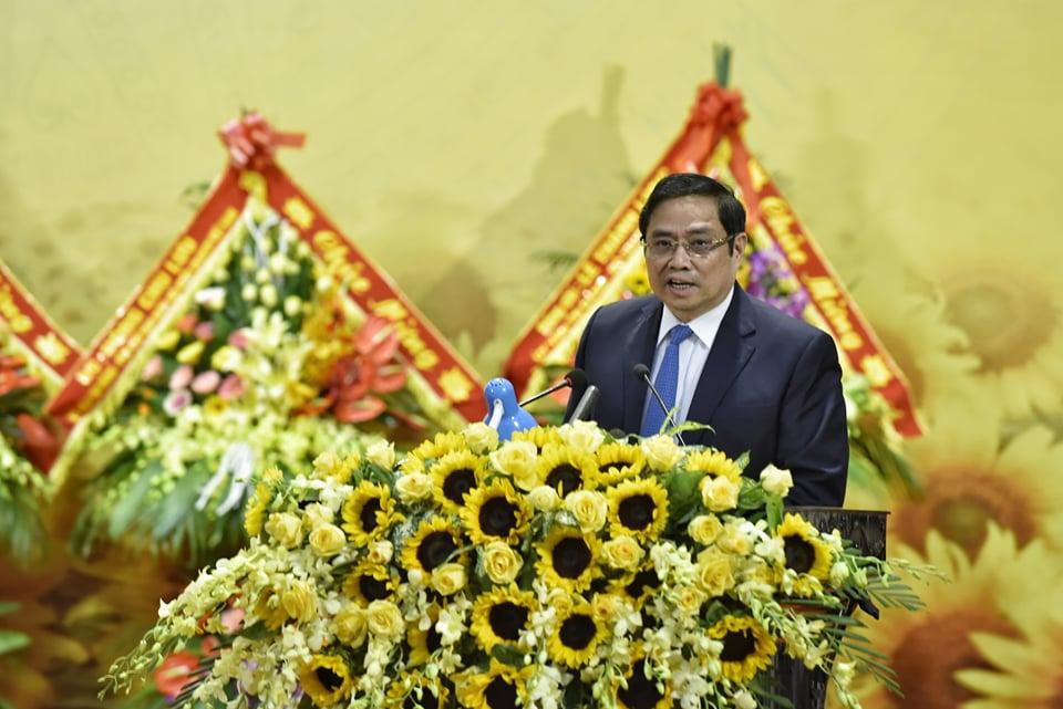 Ông Phạm Minh Chính, Ủy viên Bộ Chính trị, Trưởng Ban Tổ chức Trung ương phát biểu chúc mừng những thành tựu của Đảng bộ tỉnh Thanh Hóa tại Lễ kỷ niệm