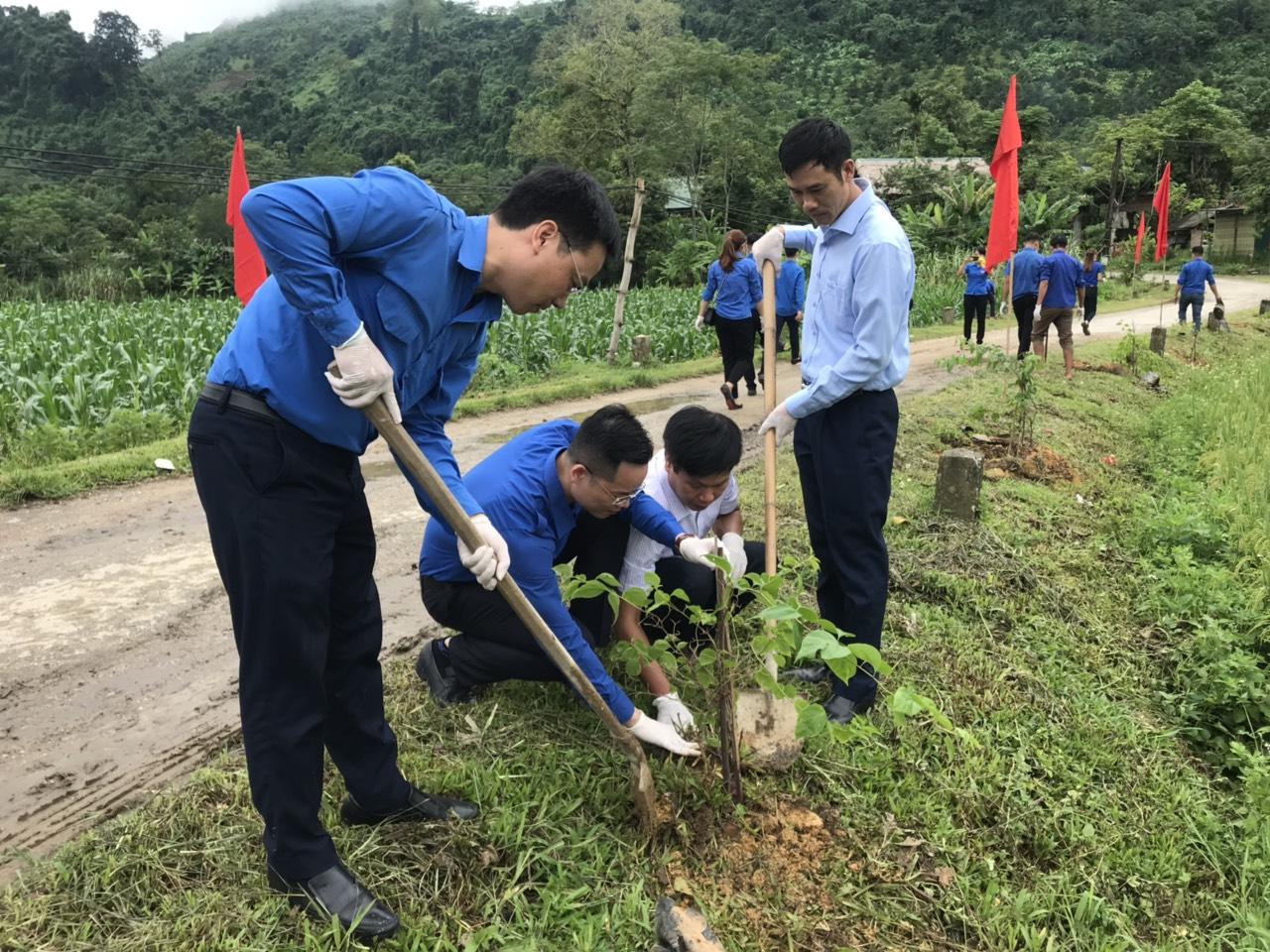 Đoàn viên, thanh niên tham gia trồng cây tại xã Trung Hà (Chiêm Hoá, Tuyên Quang)