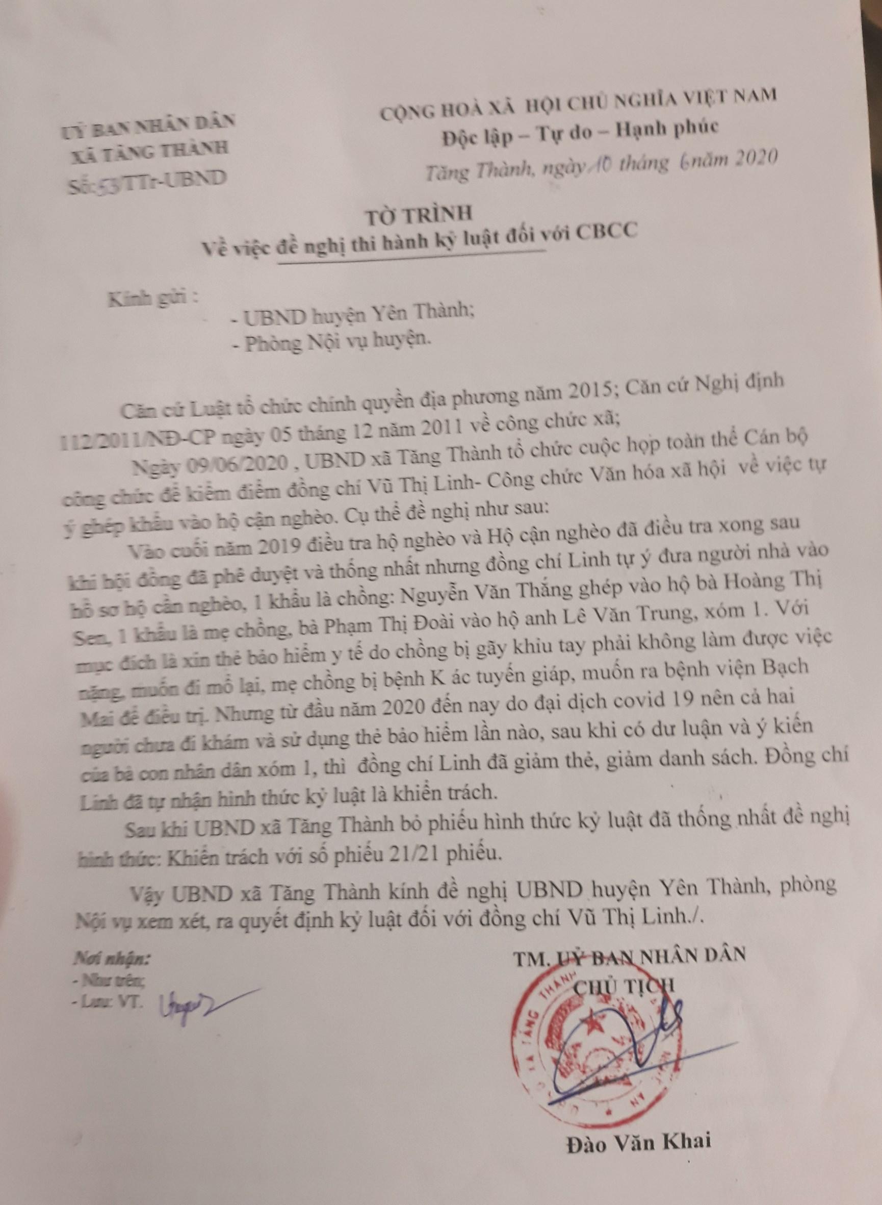 Tờ trình thi hành kỷ luật của xã Tăng Thành