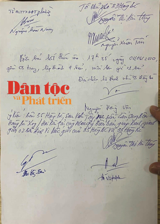 """Trang cuối Biên bản cuộc họp ngày 1/6/2020 đã """"chốt"""", ông Đào Duy Hoàn bỏ về, không ký xác nhận"""