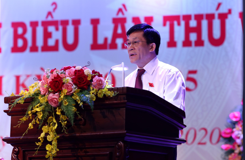 Bí thư Đảng ủy, Thứ trưởng, Phó Chủ nhiệm UBDT Nông Quốc Tuấn phát biểu khai mạc Đại hội.