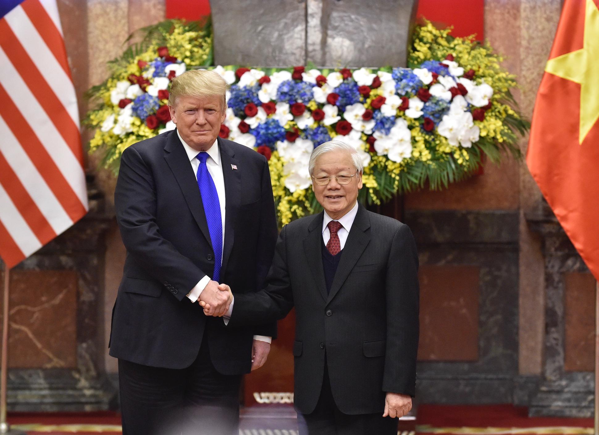 Tổng Bí thư, Chủ tịch nước Nguyễn Phú Trọng tiếp Tổng thống Mỹ Donald Trump, ngày 27/2/2019. - Ảnh: VGP/Nhật Bắc