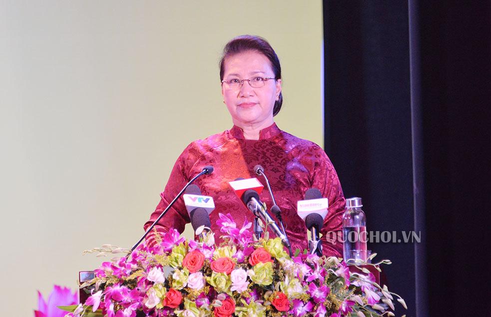 Chủ tịch Quốc hội Nguyễn Thị Kim Ngân phát biểu tại buổi Lễ (Ảnh: Việt Hà)