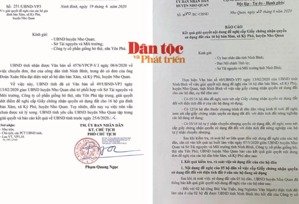 Văn bản chỉ đạo của UBND tỉnh Ninh Bình và Báo cáo kết quả thực hiện của UBND huyện Nho Quan