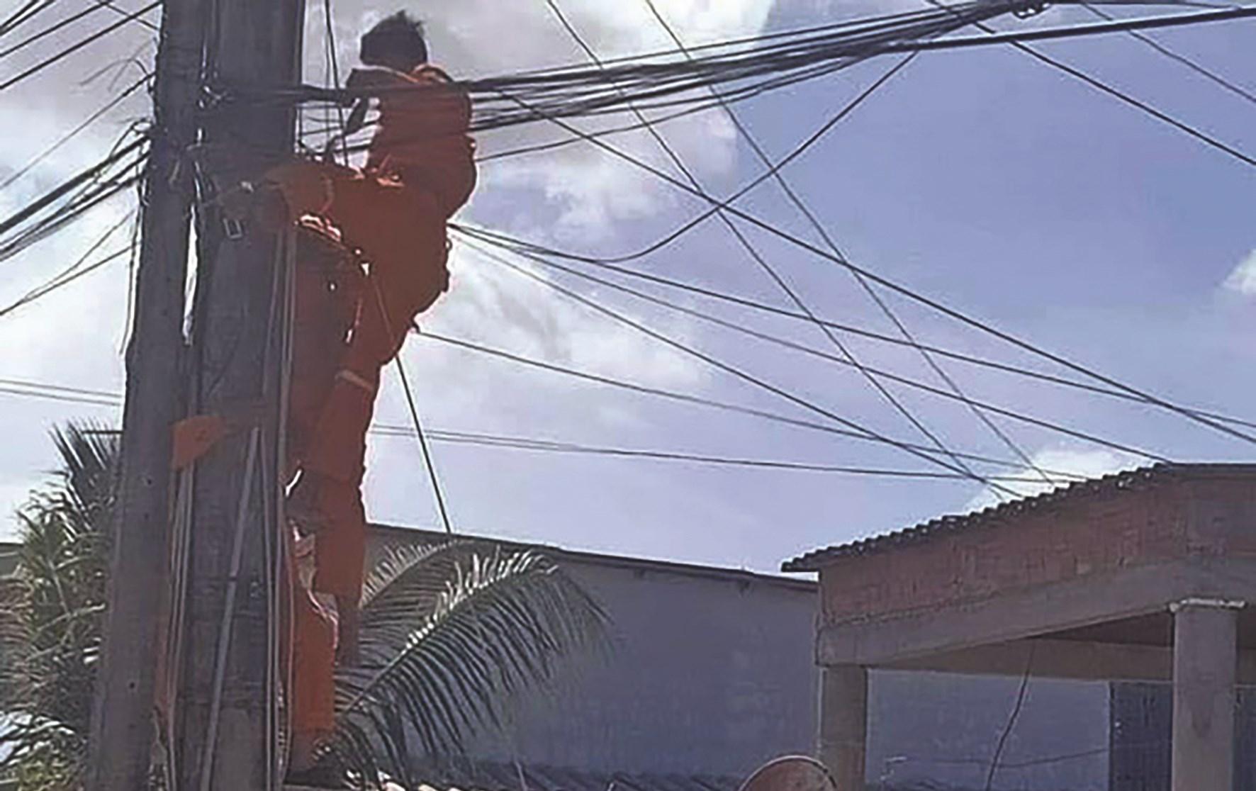 Hiện trường vụ 1 nhân viên điện lực Cà Mau bị điện giật tử vong ngày 8/2/2020. (Ảnh Tư liệu)