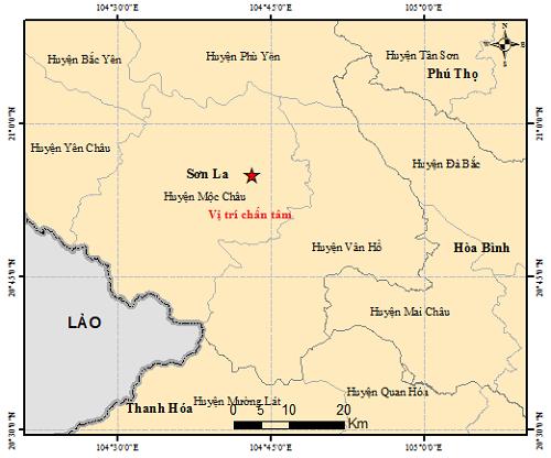 Bản đồ chấn tâm trận động đất ở Mộc Châu (Sơn La) sáng 1/5/2020. Ảnh: igp-vast.vn