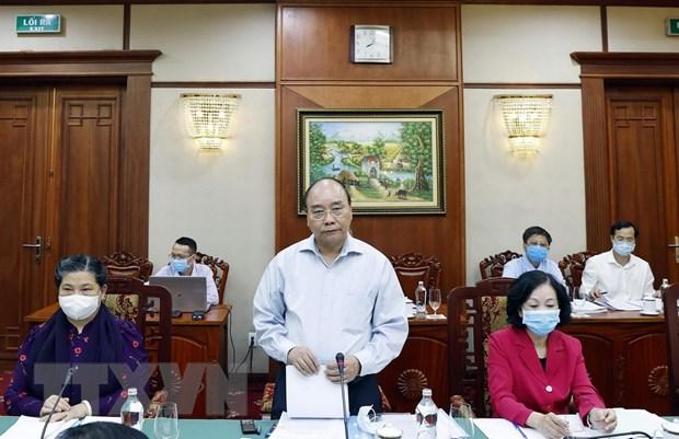 Ủy viên Bộ Chính trị, Thủ tướng Chính phủ Nguyễn Xuân Phúc phát biểu tại cuộc làm việc với Ban Thường vụ Tỉnh ủy Bà Rịa-Vũng Tàu. Ảnh: TTXVN
