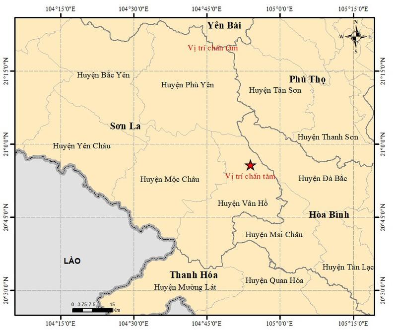 Bản đồ tâm chấn động đất sáng 17/8 tại huyện Vân Hồ (Sơn La).