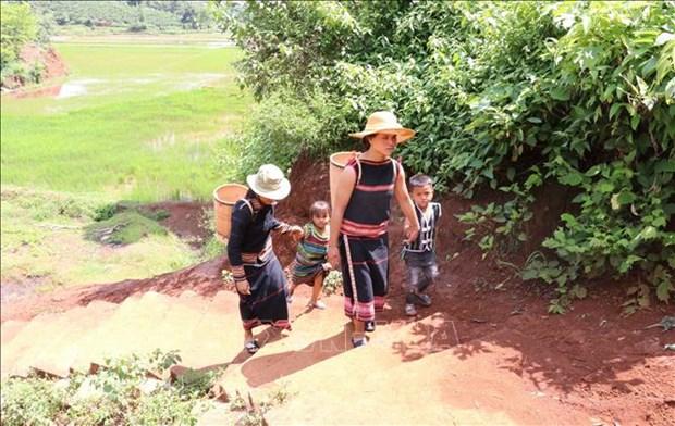 Hình ảnh phụ nữ dùng gùi để cõng nước về nhà rất quen thuộc tại các làng đồng bào dân tộc thiểu số Tây Nguyên. Ảnh: Hồng Điệp - TTXVN