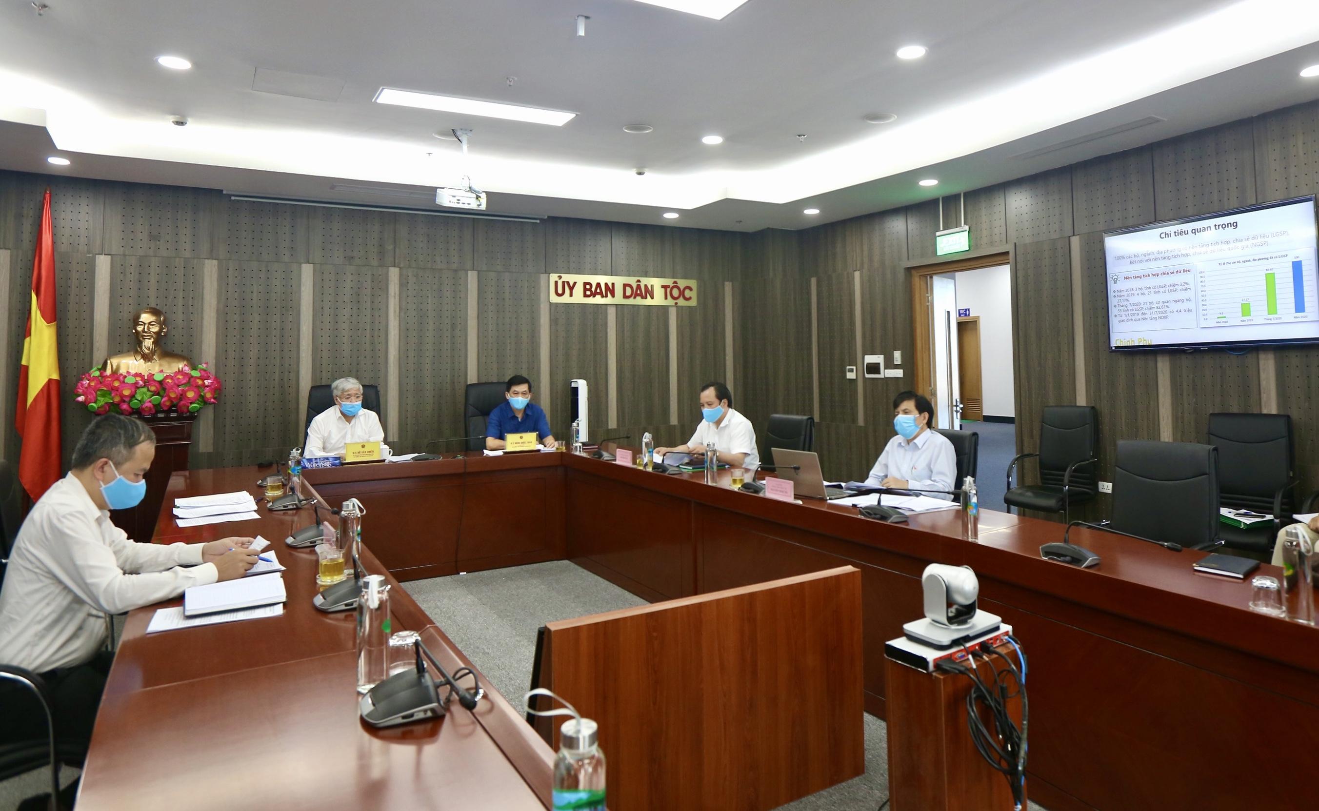 Bộ trưởng, Chủ nhiệm Đỗ Văn Chiến; Thứ trưởng, Phó Chủ nhiệm Nông Quốc Tuấn và các đại biểu tham dự Hội nghị tại điểm cầu Ủy ban Dân tộc.