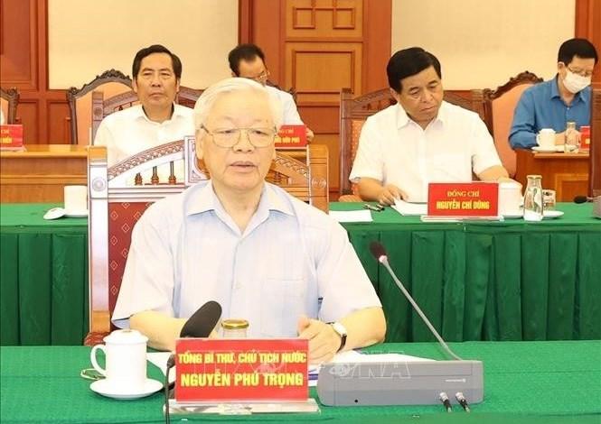 Tổng Bí thư, Chủ tịch nước Nguyễn Phú Trọng chủ trì họp Tiểu ban Văn kiện Đại hội XIII của Đảng. Ảnh: TTXVN