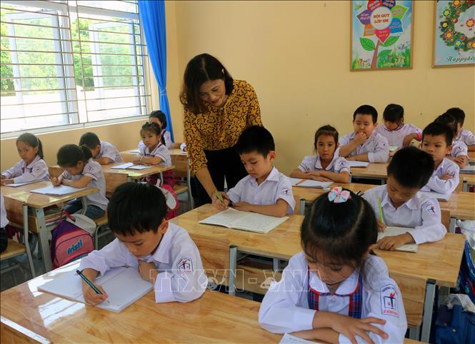 Tiết học của lớp 1C trường Tiểu học Lê Hồng Phong, thành phố Phủ Lý, tỉnh Hà Nam. Ảnh: Đại Nghĩa/TTXVN
