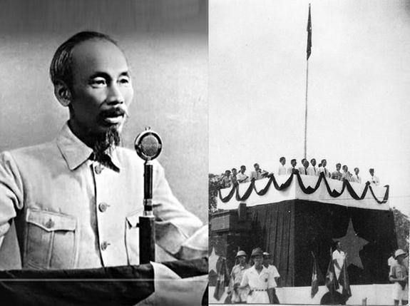 Chủ tịch Hồ Chí Minh đọc bản Tuyên ngôn Độc lập khai sinh nước Việt Nam Dân chủ Cộng hòa ngày 2-9-1945. (Ảnh tư liệu TTXVN).
