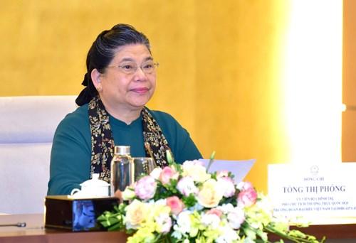 Phó Chủ tịch Thường trực Quốc hội Tòng Thị Phóng phát biểu tại cuộc làm việc