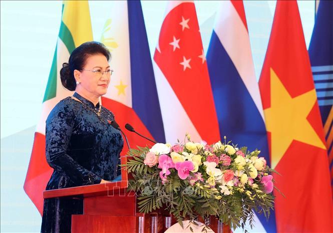 Chủ tịch Quốc hội Nguyễn Thị Kim Ngân, Chủ tịch AIPA- 41 phát biểu khai mạc ngày 8/9/2020. Ảnh: Trọng Đức - TTXVN