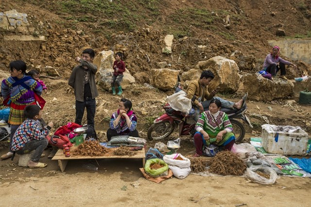 Từ tờ mờ sáng, phiên chợ đã tíu tít người đến họp. (Ảnh: Minh Sơn/Vietnam+).