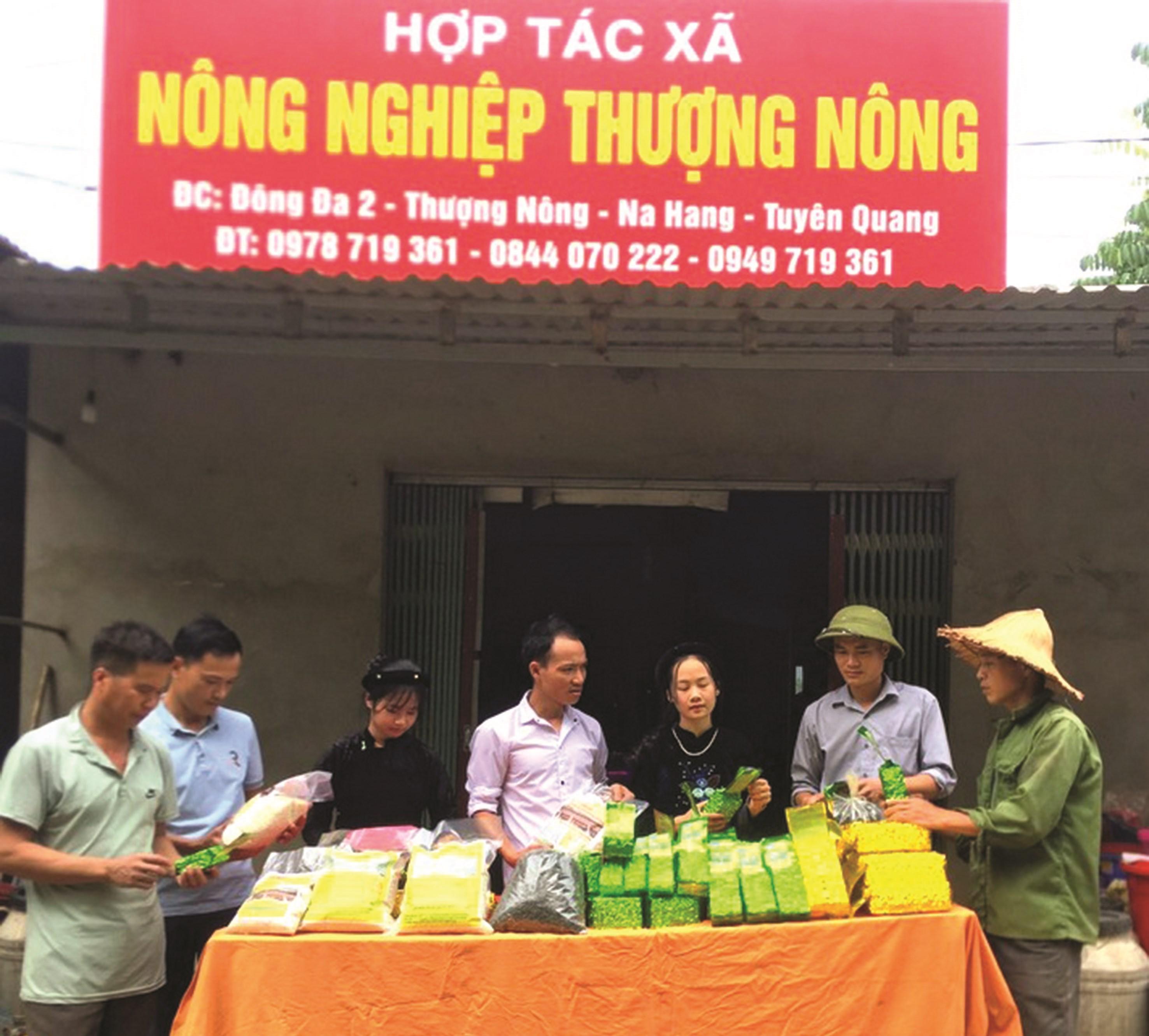 Anh Hoàng Văn Núi (thứ tư từ trái qua phải) giới thiệu sản phẩm nông sản của HTX nông nghiệp Thượng Nông
