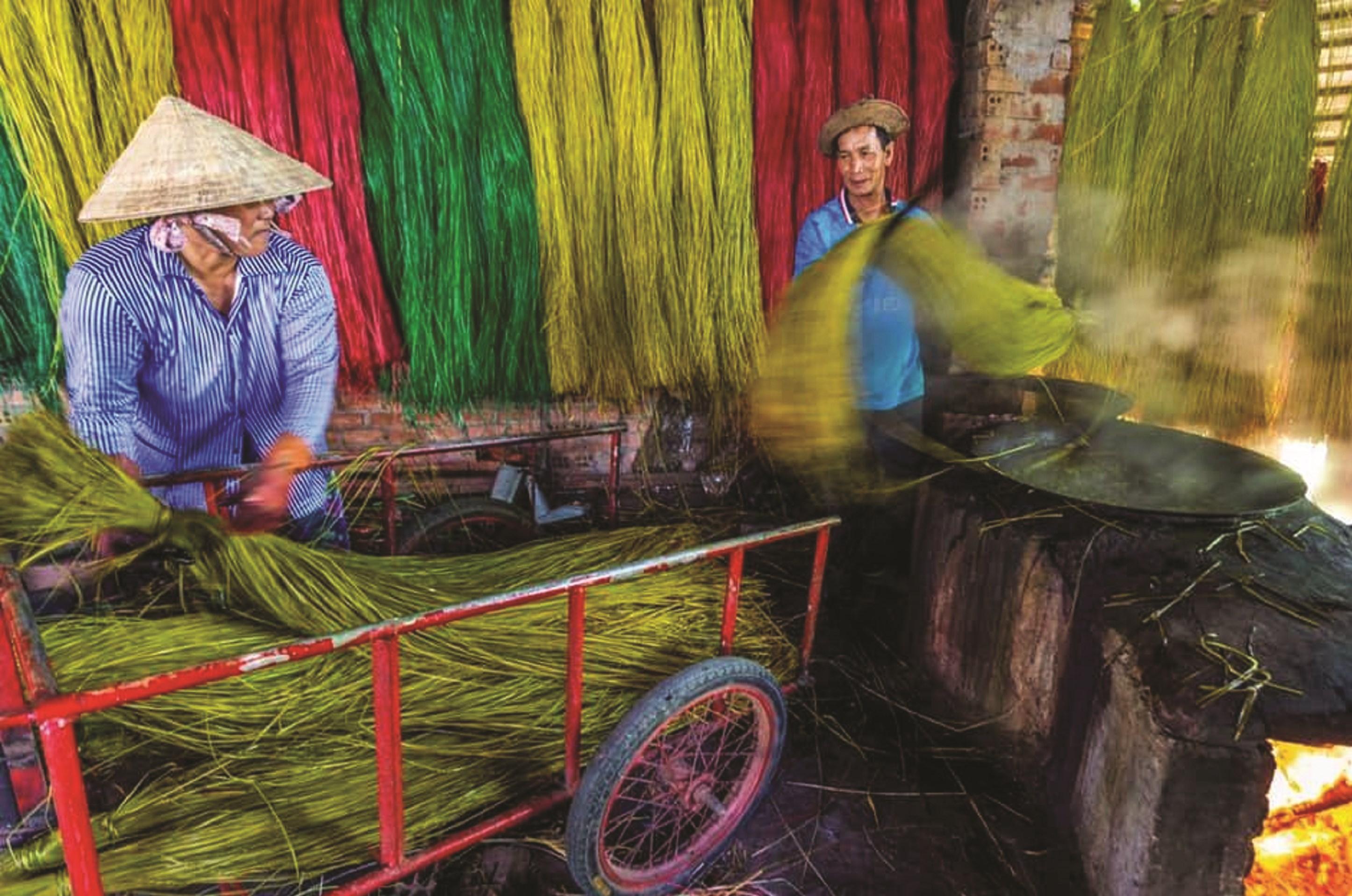 Người dân thôn Đông Bình nhuộm cói và phơi cói để làm chiếu