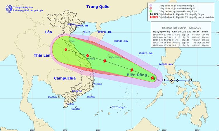 Vị trí và đường đi của bão số 5. Nguồn: NCHMF