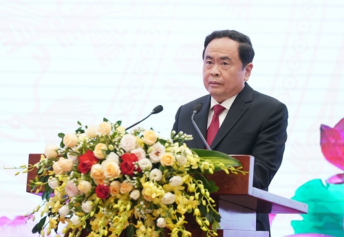 Chủ tịch Ủy ban Trung ương MTTQ Việt Nam Trần Thanh Mẫn phát biểu tại Đại hội - Ảnh: VGP/Quang Hiếu