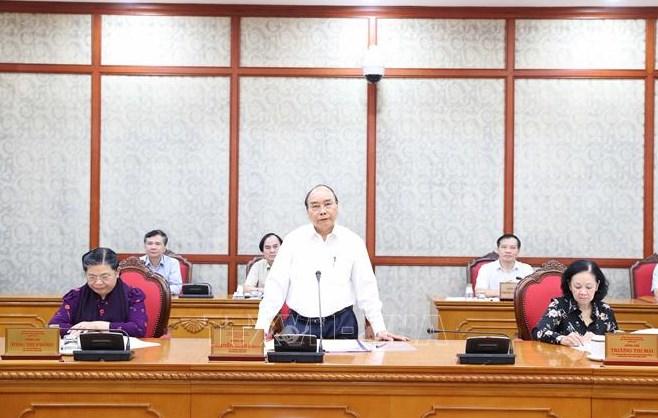 Đồng chí Nguyễn Xuân Phúc, Uỷ viên Bộ Chính trị, Thủ tướng Chính phủ phát biểu tại cuộc làm việc với Ban Thường vụ Tỉnh uỷ Thừa Thiên Huế. Ảnh: Thống NhấtTTXVN