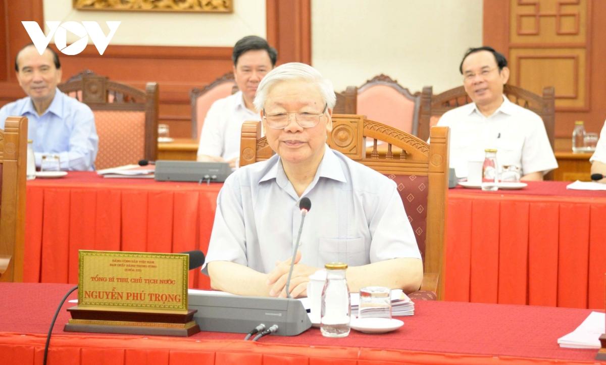 Tổng bí thư, Chủ tịch nước Nguyễn Phú Trọng phát biểu tại buổi làm việc.