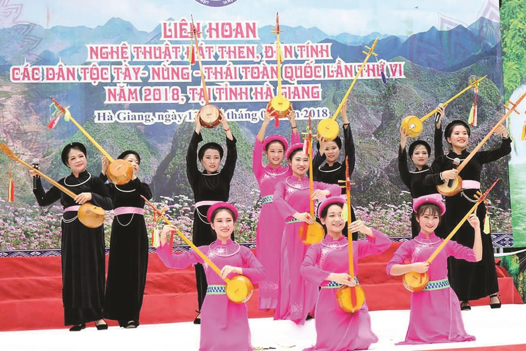Đội văn nghệ biểu diễn Then huyện Lâm Bình đạt giải B toàn quốc năm 2018