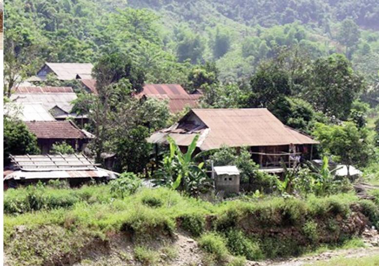 Một góc bản Nà Phầy, xã Vàng San, huyện Mường Tè (Lai Châu) đã bị sạt lở nghiêm trọng