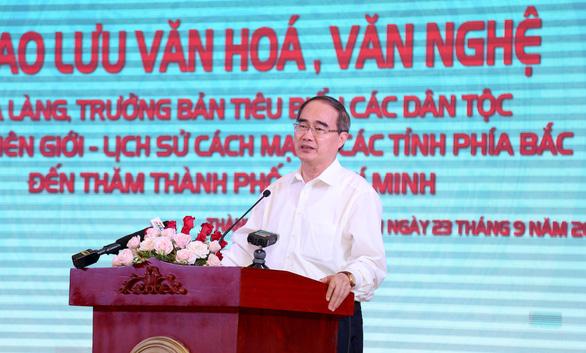 Bí thư Thanh ủy TP Hồ Chí Minh Nguyễn Thiện Nhân phát biểu tại buổi gặp mặt