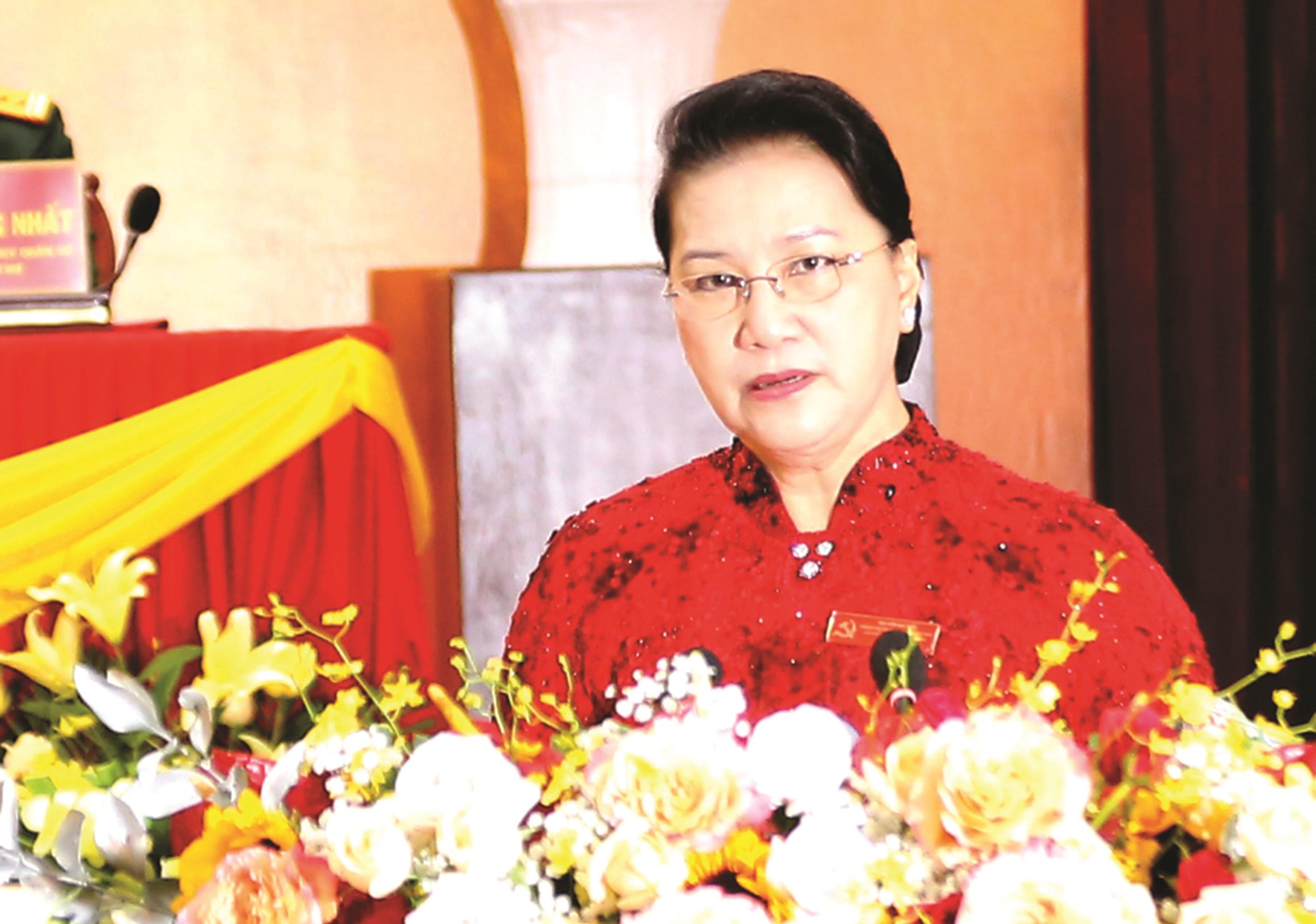 Ủy viên Bộ Chính trị, Chủ tịch Quốc hội Nguyễn Thị Kim Ngân phát biểu chỉ đạo Đại hội