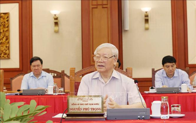 Tổng Bí thư, Chủ tịch nước Nguyễn Phú Trọng chủ trì buổi làm việc của tập thể Bộ Chính trị với Ban Thường vụ Đảng ủy Công an Trung ương. Ảnh: TTXVN