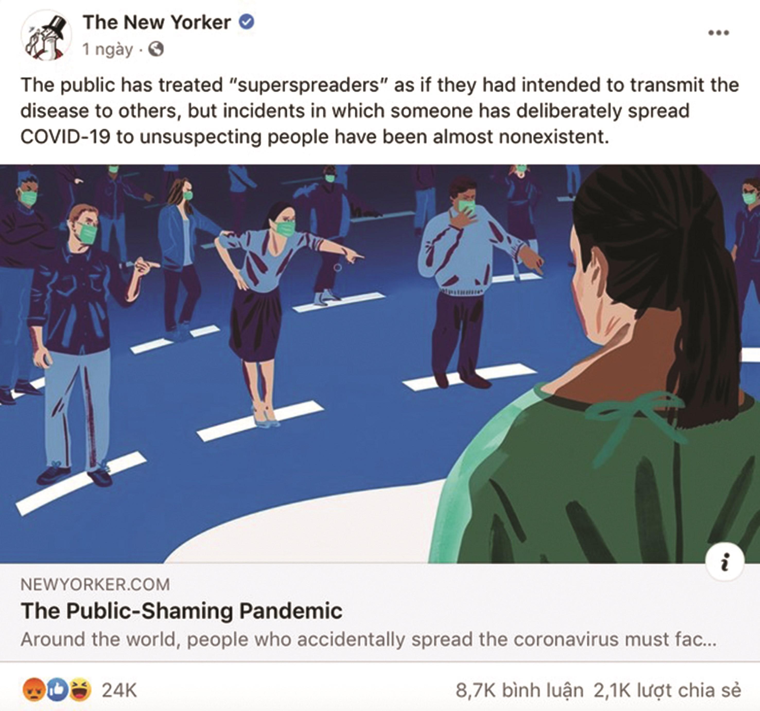 Bài đăng trên tờ The New Yorker được chia sẻ trên Facebook khiến cộng đồng mạng dậy sóng