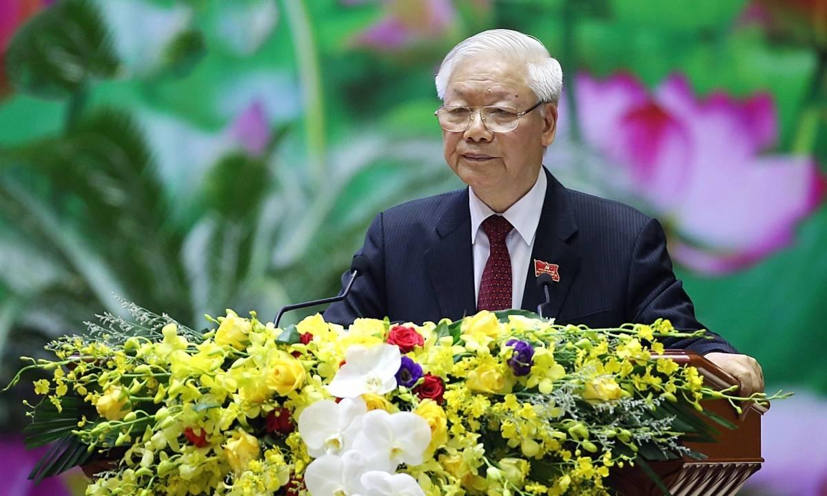 Tổng Bí thư, Chủ tịch nước, Bí thư Quân ủy Trung ương Nguyễn Phú Trọng phát biểu chỉ đạo Đại hội.