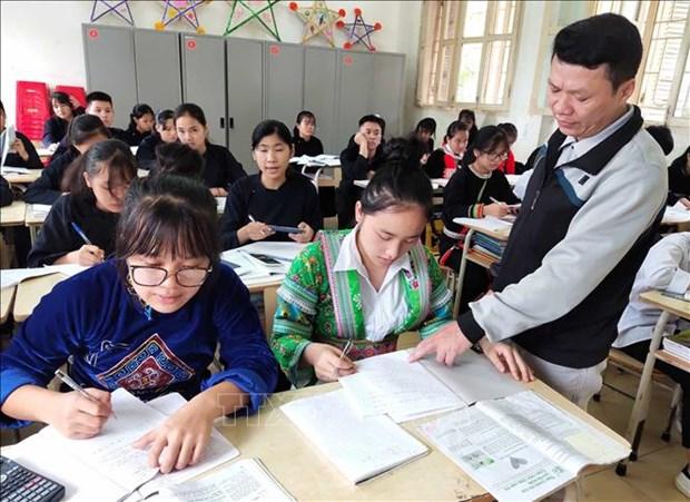 Một tiết học của học sinh Trường Trung học phổ thông Dân tộc nội trú Cao Bằng. Ảnh: Quốc Đạt - TTXVN