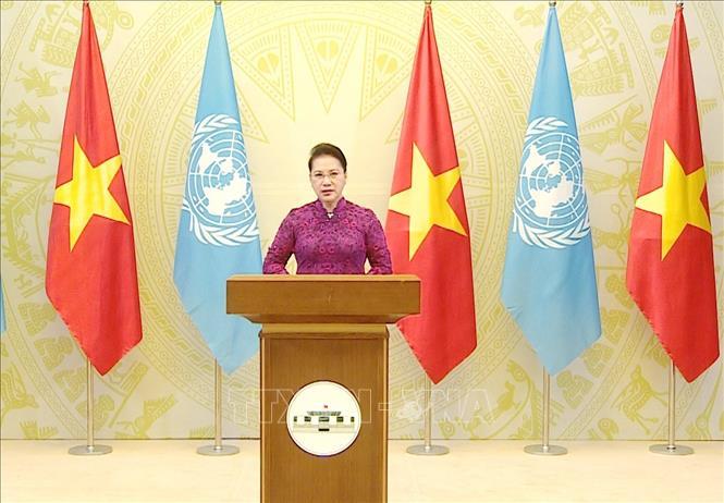Sáng sớm 2/10/2020, theo giờ Việt Nam, Chủ tịch Quốc hội Nguyễn Thị Kim Ngân gửi thông điệp đến ''Phiên họp cấp cao kỷ niệm 25 năm Hội nghị thế giới về Phụ nữ lần thứ IV''. Ảnh: TTXVN