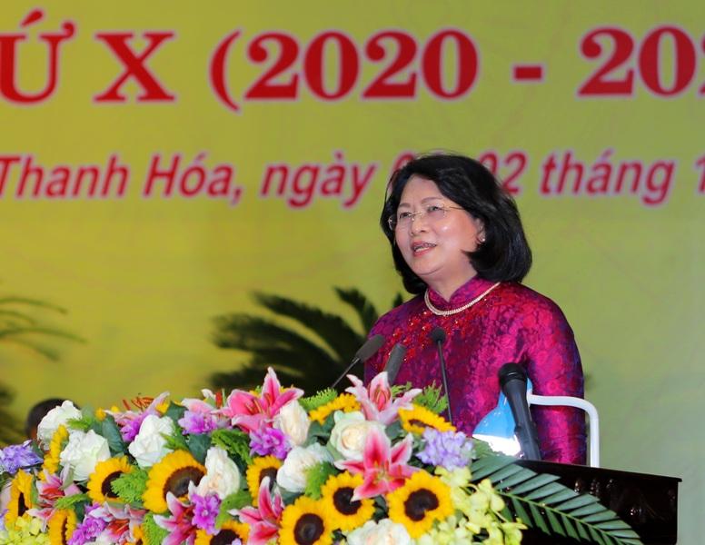 Phó Chủ tịch nước Đặng Thị Ngọc Thịnh phát biểu tai Đại hội Thi đua yêu nước tỉnh Thanh Hóa
