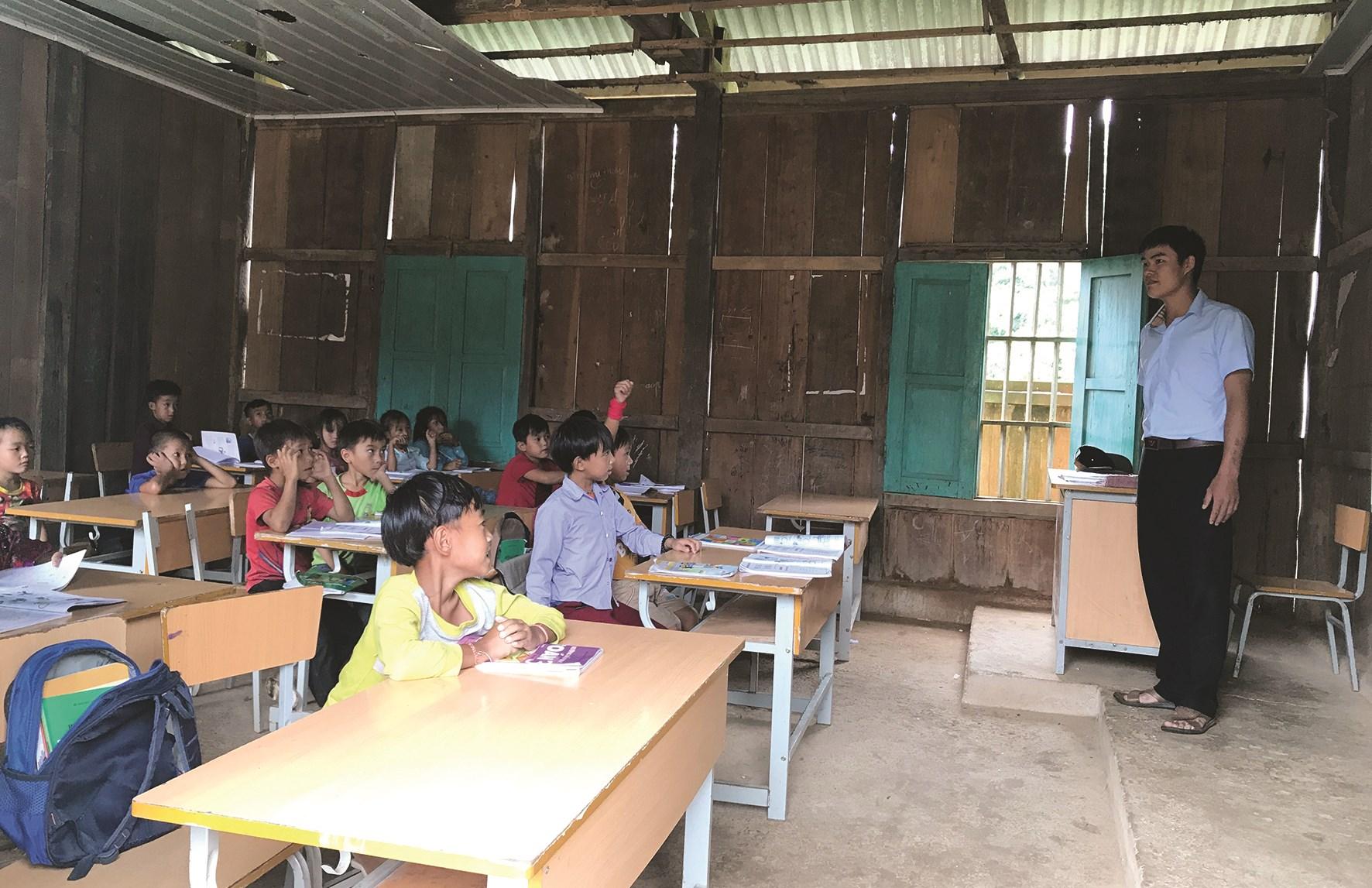 Một lớp học trong Trường Phổ thông dân tộc bán trú Tiểu học Chung Chải số 2, xã Chung Chải.