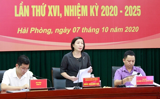 Hình ảnh tại buổi họp báo thông tin về Đại hội Đảng bộ Thành phố Hải Phòng.