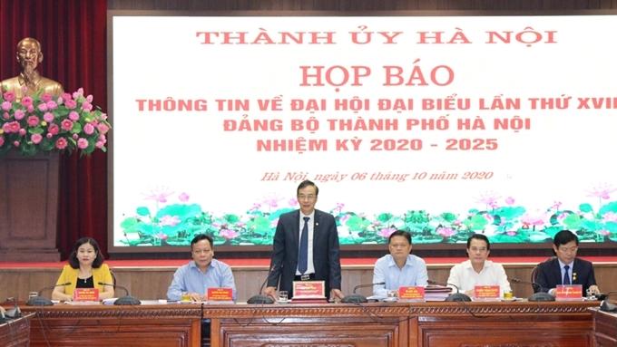 Hình ảnh tại buổi họp báo thông tin về Đại hội Đảng bộ Thành phố Hà Nội.