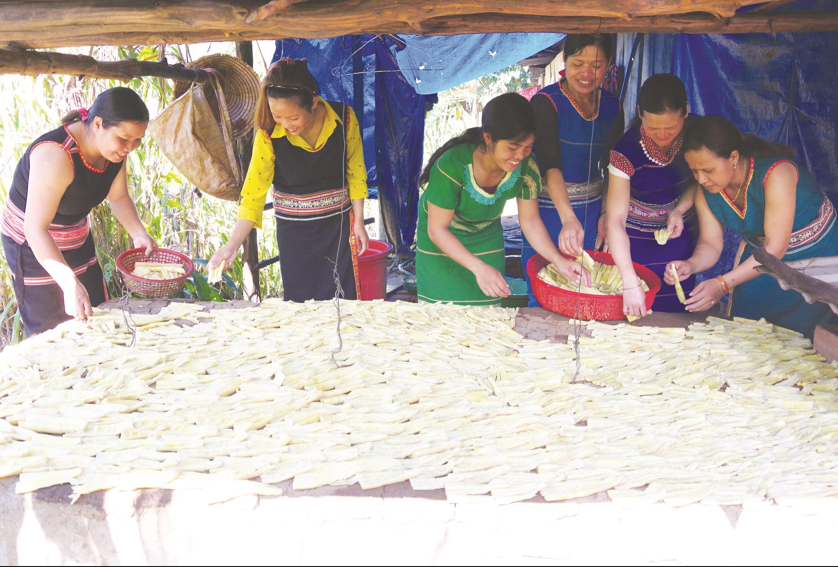 Nhờ có lò sấy măng khô, chị em hội viên đã có thêm thu nhập lo cho gia đình vào mùa mưa