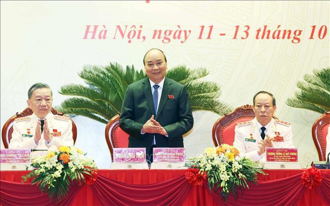 Thủ tướng Chính phủ Nguyễn Xuân Phúc dự và chỉ đạo Đại hội đại biểu Đảng bộ Công an Trung ương lần thứ VII nhiệm kỳ 2020-2025. Ảnh: Thống Nhất/TTXVN