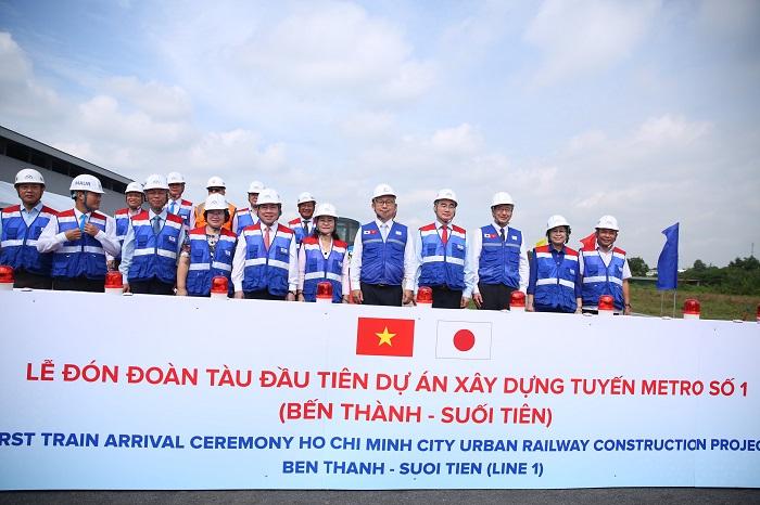Các lãnh đạo Đảng, Chính quyền TP Hồ Chí Minh có mặt tham dự Lễ đón đoàn tàu